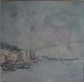 120, Poppe Damave, Havenzicht, Aquarel