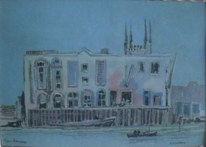 129, Poppe Damave, London, Aquarel met houtskool